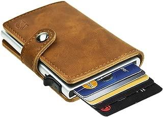 Dlife Credit Card Holder RFID Blocking Wallet Slim Wallet PU Leather Vintage Aluminum Business Card Holder Automatic Side Slide Trigger Card Case Wallet Security Travel Wallet (Light Brown)