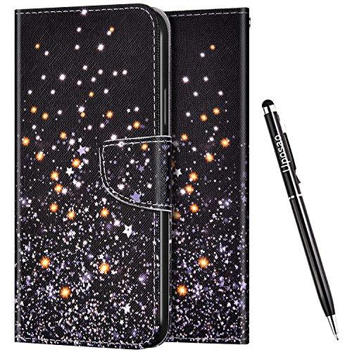Uposao Kompatibel mit Huawei Honor 30 Hülle Flip Schutzhülle Leder Handyhülle 3D Bunt Muster Leder Hülle Leder Tasche Bookstyle Case Klapphülle Magnet Kartenfächer,Sterne