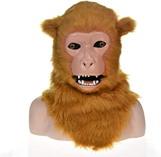 WNGCAR AU Fashion Furry Handmade Custom Party Dynamic Population Cover White Macaque Simulation Animal mask (Color : Brown)
