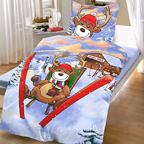 Bertels Textilhandels GmbH Baumwoll Biber Bettwäsche 135x200 2 tlg Blau Elch Winter