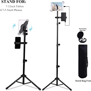 Ecoolbuy Portable Universal Floor Tablet Tripod Mount Stand Bracket for 7 to 12 inch Tablets 360°Height Adjustable Display Music Meeting Video + Bag