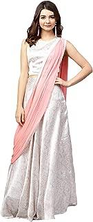 Off White satin Printed Lehenga Saree/Sari with Blouse Piece