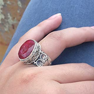 Ruby Ring, Ruby Jewelry, Silver Ring Gift for Girls, Silver Jewelry, Faceted Cut Ring, Designer Ring, Cocktail Ring, Partywear Ring, Handmade Christmas