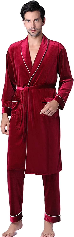 Men's Fleece Robe & Pants Soft Warm Plush Collar Shawl Bathrobe Pajama Set