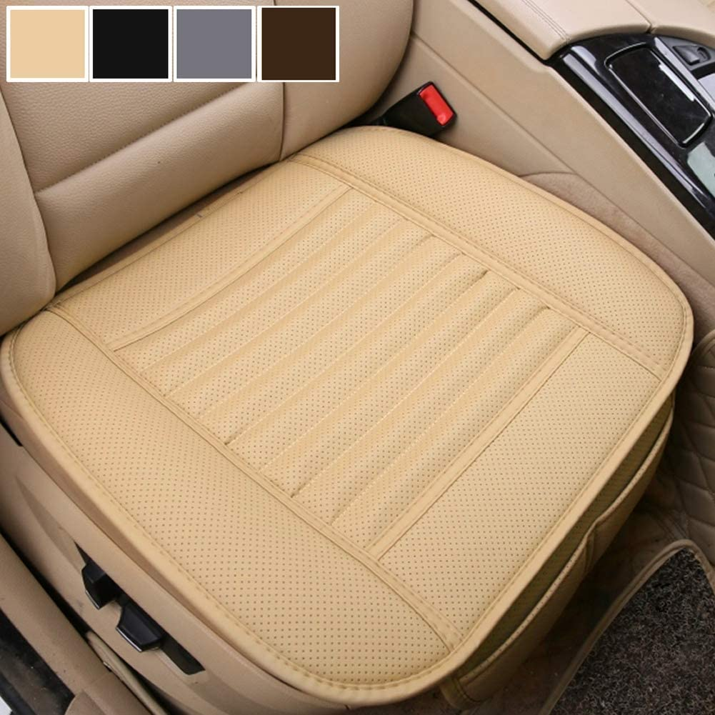 Big Ant Car Seat Cushion Beige 1PC Breathable Car Interior Seat Cover Cushion Pad Mat for Auto Supplies Office Chair with PU Leather