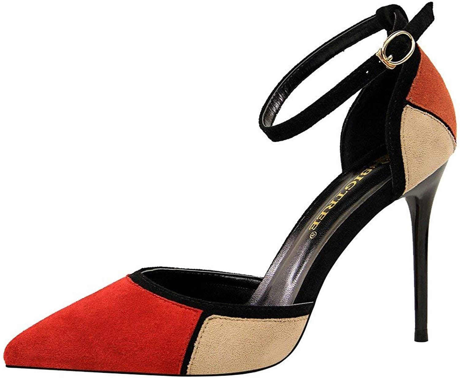 Gcanwea Women's Multicolor Pointed Toe High Heel D'Orsay shoes Fashion Skinny Breathable Comfortable Classic Elegant Sexy Ladies Dress Simple Black+Apricot 7.5 M US shoes