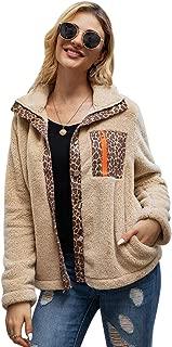 YYW Women's Lapel Fuzzy Faux Shaggy Coat Fashion Leopard Long Sleeve Winter Outwear Jackets Warm Soft Overcoat