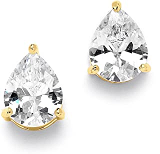 2 Carat Pear-Shaped Cubic Zirconia Stud Solitaire Earrings - Genuine 14K Gold Plated