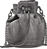 MIYA BLOOM, Damen Handtaschen, Umhängetaschen, Crossover-Bags, Beuteltaschen, 25,5 x 21,5 x 15,5 cm (B x H x T), Farbe:Anthrazit