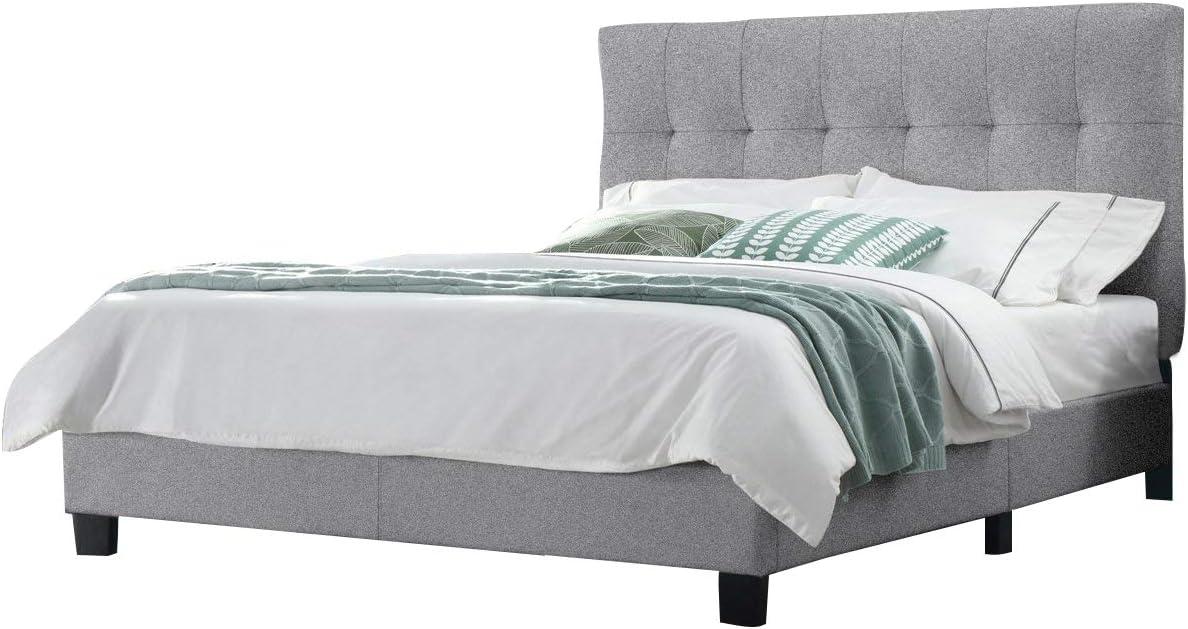 Cama doble 140 x 190 cm, tejido gris de calidad Excellium con ...