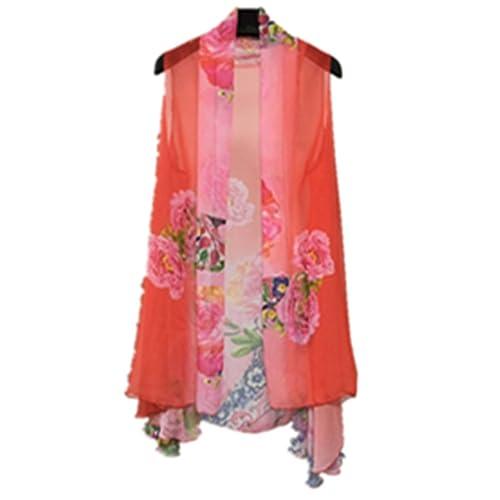 0bf8b2827e E-Papaya Women s Solid Printed Sleeveless Chiffon Cardigan Cover-up Scarf  wrap