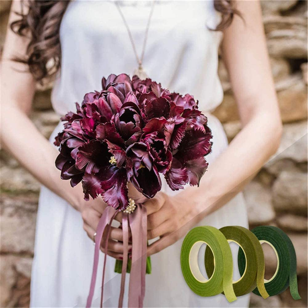 Florista Stem Wrap 9//15 Tape Stem Rollo Para Los Ramilletes Bouquet Cinta 3 Coloreado Alambre Floral Kit Arreglo 12 Mm 9 Pcs 30 Yard