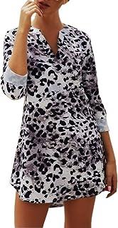 JLTPH Abito da Donna Vestito con Scollo a V Maniche Lunghe in Pelle di Serpente Stampa Leopardata Abito Corto Abiti Senza ...