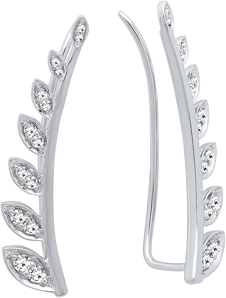Dazzlingrock Collection 0.50 Carat (ctw) 14K Gold Round White Diamond Ladies Leaf Shaped Climber Earrings 1/2 CT