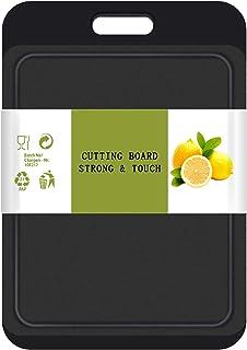 Planche à découper de cuisine, 13,8 po x 9,5 po, planche épaisse, rainures à jus, poignée facile à saisir, sans BPA, va au...