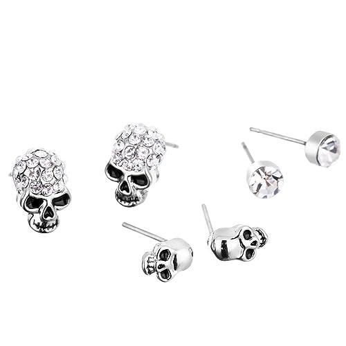 d5afc7eae 3 Pairs Diamond Stud Earrings Skull Crystal Charm Earrings Set for Women  Girl