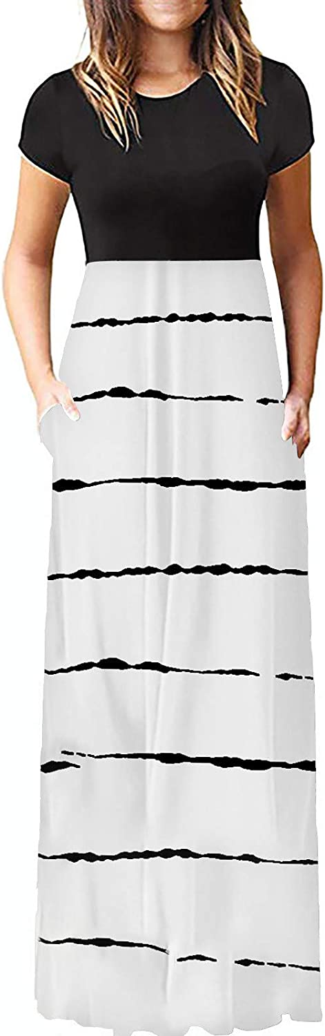 siilsaa Dress for Women Casual Elegant Summer Floral Print Long Maxi Dress Short Sleeve Cocktail Party Dress with Pocket