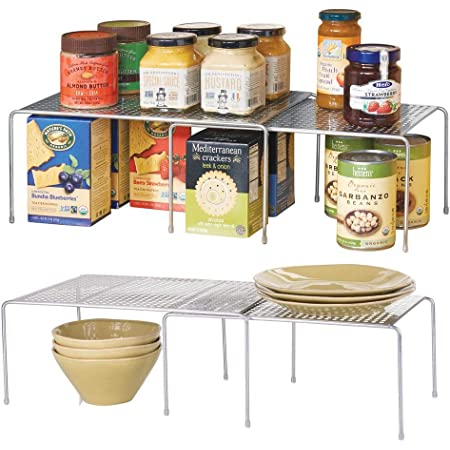 mDesign étagère de Cuisine (Lot de 2) – Rangement de Cuisine en métal pour Placard ou Plan de Travail – étagère de Rangement pour Vaisselle, épices, Condiments, etc. –