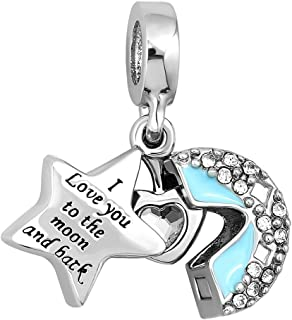 Corykeyes I Love You to The Moon and Back Charm Star Heart Openable Bead for Bracelet