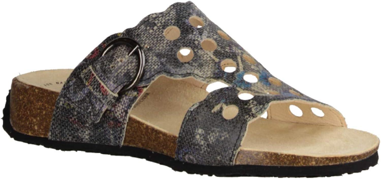 Think  80362-09 SZ Kombi - - - Pantolette mit Loser Einlage- Damenschuhe Pantolette Zehentrenner, Mehrfarbig, Leder (Effekt Wallpaper), absatzhöhe  30 mm  91ddbe