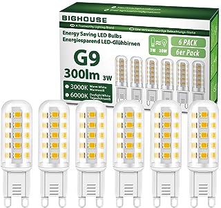 BIGHOUSE Bombilla LED G9 de 3W Equivalente a 30W Lampara Halógena, Blanco Cálido 3000K, 300LM, No regulable, 360 Grados, lámpara g9 para iluminación del hogar, paquete de 6