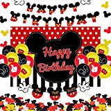 CrzPai Mickey Mouse Birthday Decorations for Kids, Oh Twodles Party Supplies with Mickey Theme Backdrop, Birthday Banners, Mickey Confetti Party Favors, Latex Balloons for Girl Boy Party Celebration