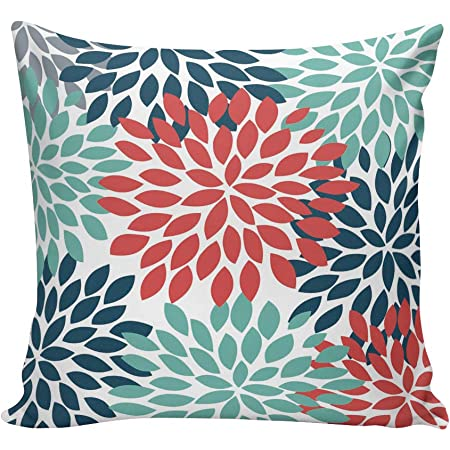 Calitime Canvas Throw Pillow Cover Case For Couch Sofa Home Decoration Three Tone Dahlia Floral Compass Geometric 18 X 18 Inches Red Wine Turquoise Navy Home Kitchen