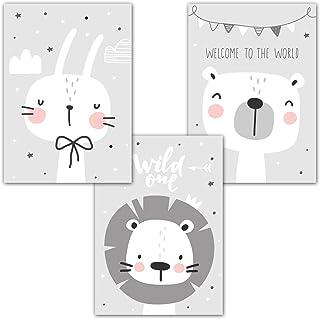 frechdax® Jeu de 3 posters pour chambre de bébé/d'enfant DIN A4 Sans cadre | Fille ou garçon | Image imprimée pour enfant,...