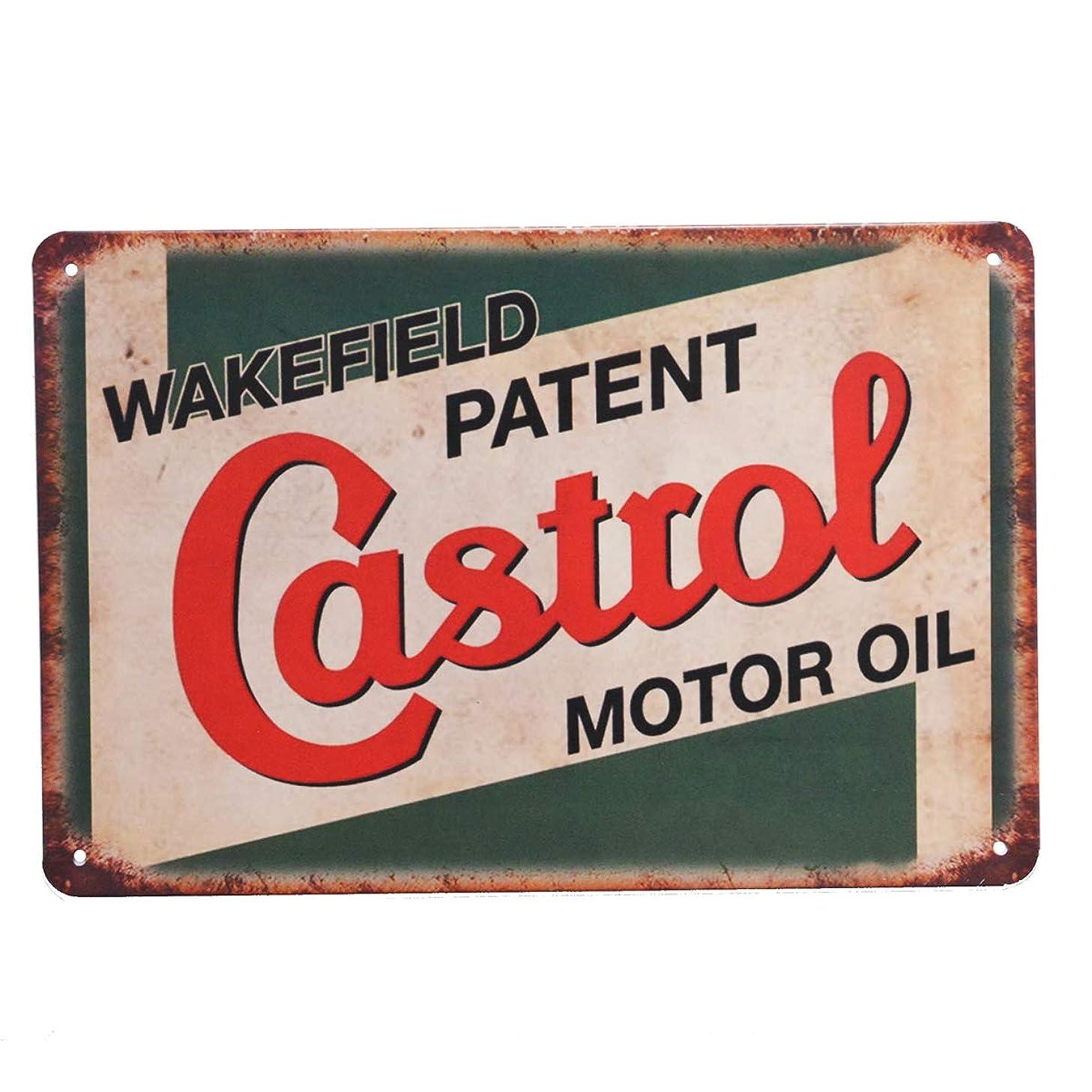 PEI's Retro Vintage Tin Metal Sign, Castrol Motor Oil, Wall Decor for Home Garage Bar Man Cave, 8x12/20x30cm
