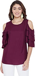 AASK Women Maroon Color Cold Shoulder & Bell Sleeve Rayon Top (US_1389)