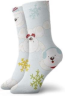 tyui7, Calcetines de compresión antideslizantes para osos polares y copos de nieve Calcetines deportivos de 30 cm para hombres, mujeres y niños