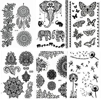 Pinkiou Henna Tattoo Stickers Lace Mehndi Temporary Tattoos for Maverick Women Teens Girls Metallic Tattooing Pack of 6  Black