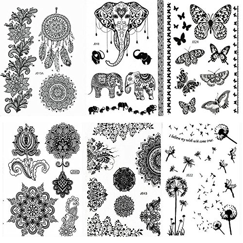 Pinkiou Henna Tattoo Stickers Lace Mehndi Temporary Tattoos for Maverick Women Teens Girls Metallic...