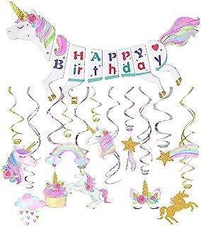 Unicorn Party Decorations-Unicorn Happy Birthday Banner-Unicorn Hanging Swirl Decorations-Unicorn Party Supplies