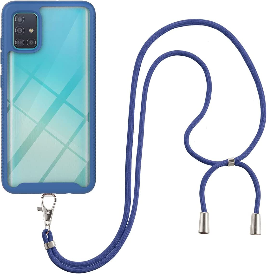 Galaxy A51 Case, Gift_Source Slim Shockproof Crossbody Case 2 in 1 Soft Silicone Bumper and Clear Hard PC Back Cover Shell with Adjustable Lanyard Neck Strap for Samsung Galaxy A51 (6.5