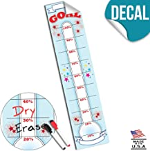 Goal Setting Fundraising Donation Thermometer - 11x48 - Dry Erase Reusable Vinyl Decal Sticker - Fundraiser Milestone Company Goals Chart - Office Wall Temperature Stickers Charts (Light Blue)