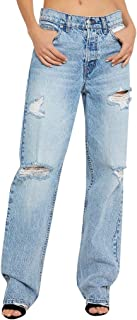 Kekebest Casual Women Skinny Ripped Jeans Distressed Denim Pants Hole Bottoms 2019 Winter Under 5