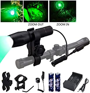 VASTFIRE 350 Yard Green Hunting light Zoomable Flashlight...