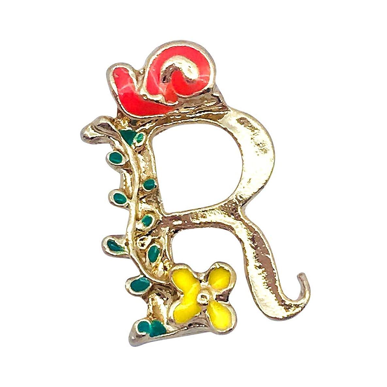 M288-E 8pcs New Cute Tiny Initial Letter R Red Snail Flower Bracelet Charms Pendants Wholesale