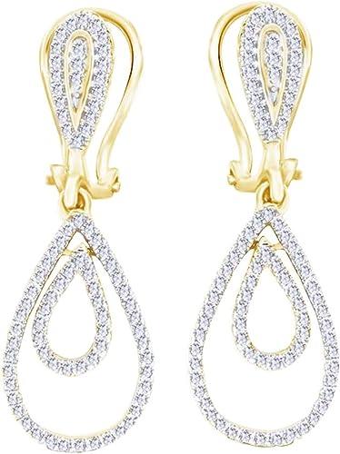 Kesselfassung Runde Form Weißnatürlicher Diamant (0,4Karat) Tropfen Ohrringe in 14  585 ssiv WeißGold