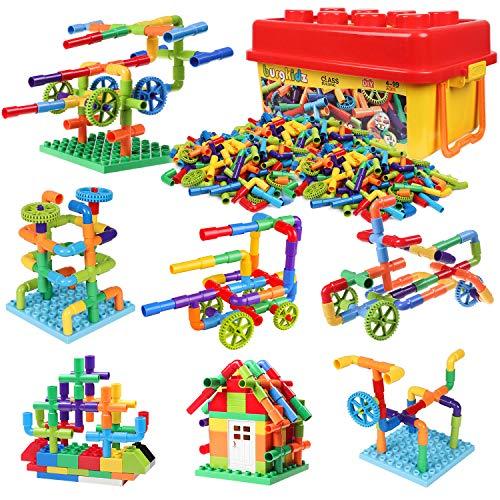 burgkidz 414 Pieces Toy Pipe, Creative STEM Tube Locks Construction...