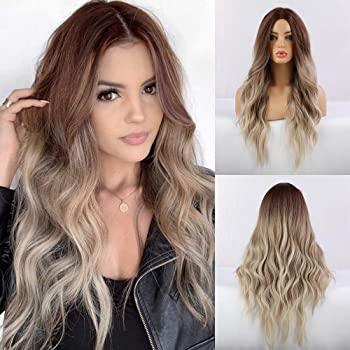 FORCUTEU Long Wavy Synthetic Wigs Ombre Ash Blonde Middle Part Looking Natural Hair Wigs for Women Cosplay Wigs Heat Resistant Fiber (Ombre Ash Blonde)