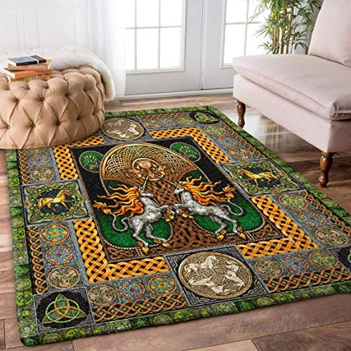 Celtic Horse Unicorn Rug Carpet Area Rug Non Slip Rugs for Kids Girls Bedroom Dining Living Room Outdoor Playroom Hallway Runner Rug 2x3 3x5 4x6 5x8 Area Rug