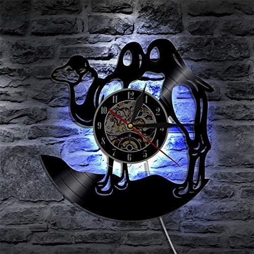fdgdfgd Reloj de Pared Multicolor 3D Camel Desert African Animal LED Reloj de Pared con Disco de Vinilo Ligero | Regalo Hecho a Mano conmemorativo de cumpleaños