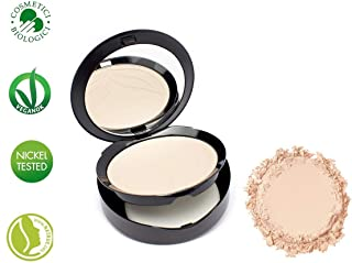 PuroBIO Certified Organic Compact Foundation with Anti-Aging & Mattifying properties, NO 01-Light Skin Tones. With Plant Oils, Shea Butter, Vitamins. ORGANIC. VEGAN, NICKEL TESTED. MADE IN ITALY
