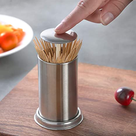 Barcley Automatic Toothpick Dispenser Toothpick Holder Funny Automatic Cute Decorative Toothpicks Container Case For Restaurant Home Kitchen And Parties Stainless Steel D Silver Home Kitchen