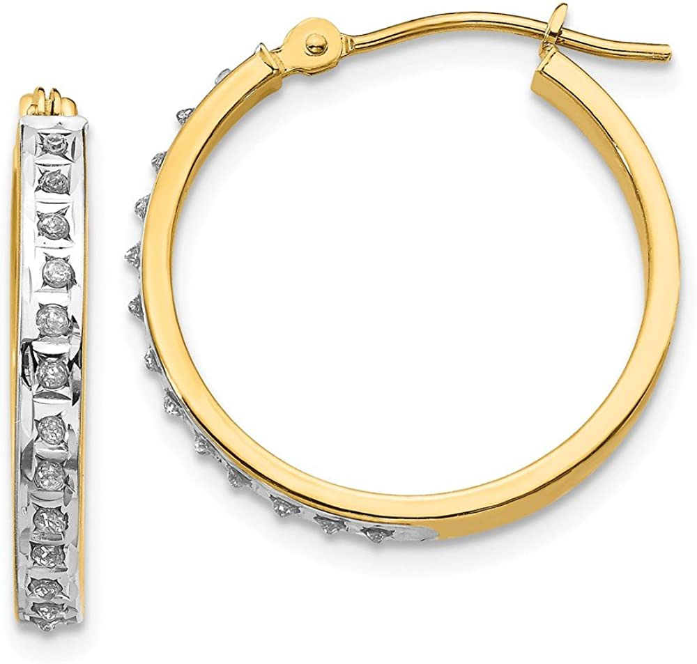 14k Yellow Gold Diamond Fascination Round Hinged Hoop Earrings Ear Hoops Set Fine Jewelry For Women Gifts For Her
