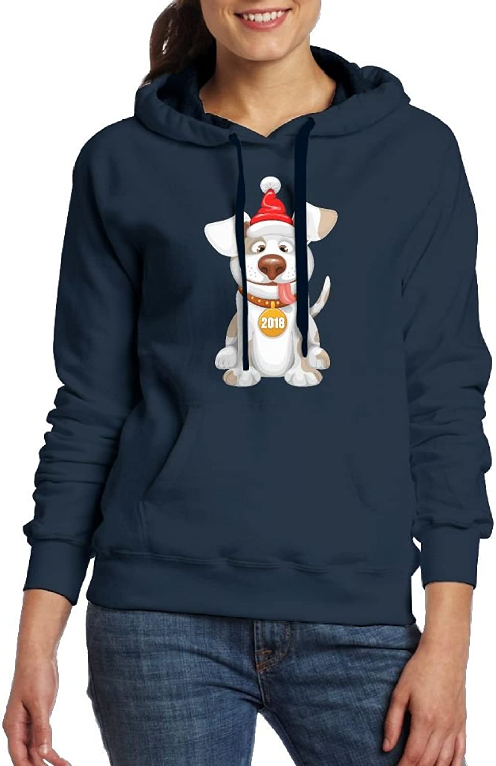 2018 Dog Year Design Womens Geek Long Sleeve Hoodie With Kangaroo Pocket
