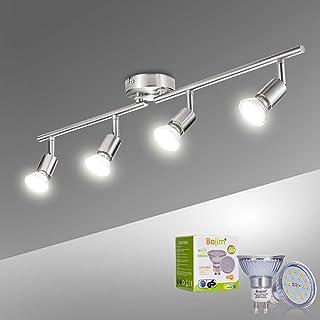 Bojim Lámpara de techo LED Plafón con Focos Giratorios 4500K Blanco Natural 4X Bombillas GU10 Bajo consumo 6W 220V 600lm 82Ra IP20 Níquel Mate Longitud
