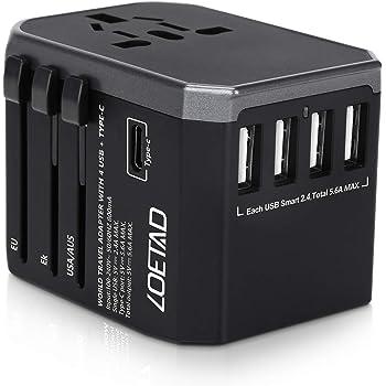 LOETAD Adattatore Universale da Viaggio con 4 Porte USB 3.0 e 1 Interfaccia Type-C Adatto per Apparecchiature da 2000 W per L'utilizzo Negli Stati Uniti, Regno Unito, Europa, Australia, Asia, ecc.